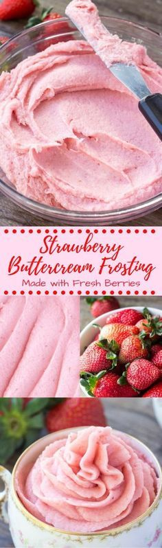 Learn how to make strawberry buttercream frosting from fresh strawberries. Thick, creamy & perfectly pipable - it's delicious on vanilla or chocolate cupcakes, and perfect for spring!