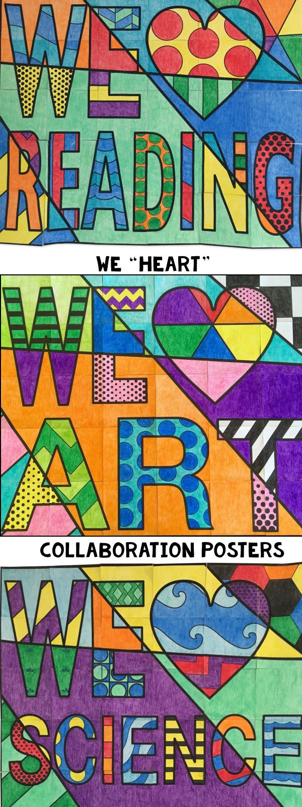 Collaboration posters that you can use all over school. Great for your bulletin board displays or centers. Included are, We Heart Reading, We Heart Art, We Heart Science, and a bonus We heart Math poster.