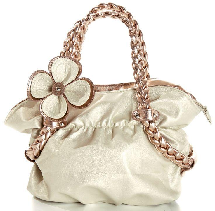 CANDICE Flower Soft Leatherette Metallic Weaved Double Handle Shoulder Bag Satchel Hobo Purse Handbag