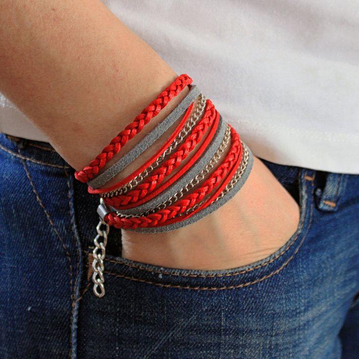 Womens Bracelet , Triple Wrap BOHO Bracelet with Braided Red Leather, Red Bracelet , Leather Bracelet , Bracelet For Women , Gift , Bohemian by JUNIPERANDELOISE on Etsy
