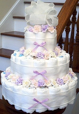3-Tier Lavender Diaper Cake With Pastel Roses.