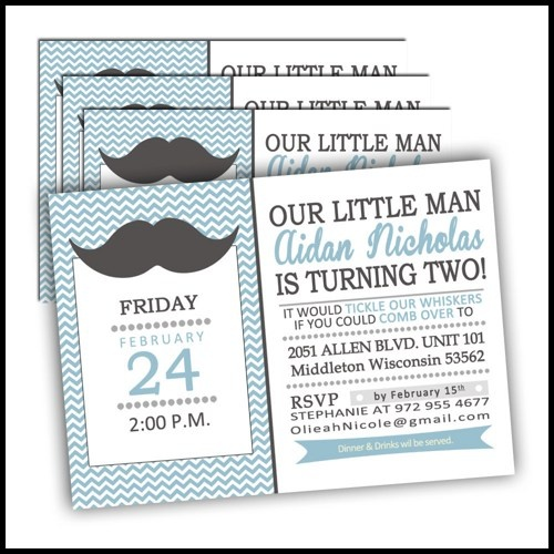 Little MAN Mustache Party Invitations: 179 - Personalized MUSTACHE Bash Invitations BIRTHDAY or Mustache Bash Baby Shower Printed Set of 12