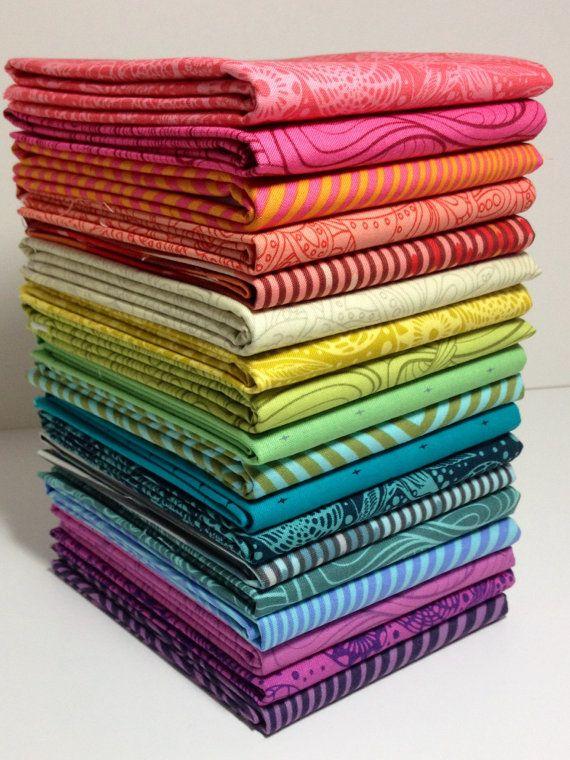 TULA PINK Fabric Bundle Blender Bundle Fat by VintageModernFabrics, $41.50