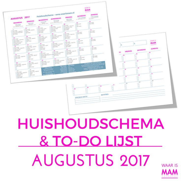 Gratis huishoudschema voor augustus 2017 plus een to-do lijst voor je doelen. Gratis download.