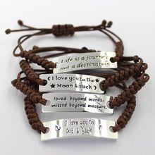 En gros votre personnalisé lettre métal Courbe pièce en cuir bracelets, main tissé bracelets