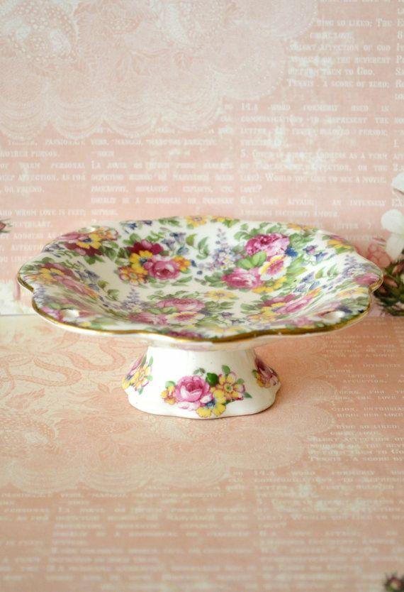 Vintage Chintz Pedestal Dish