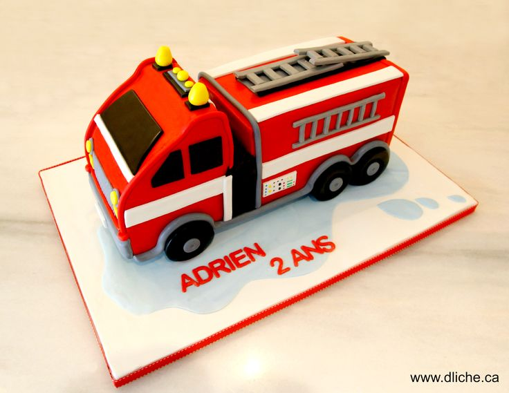 firetruck cake for adrien 39 s birthday g teau camion de. Black Bedroom Furniture Sets. Home Design Ideas
