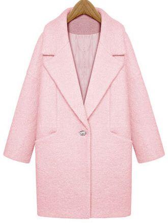 Abrigo solapa un botón suelto lana -rosa 54.49