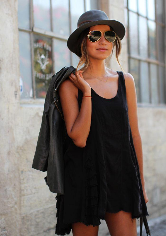 LBD and a leather jacket #Inspiration #Fashiolista