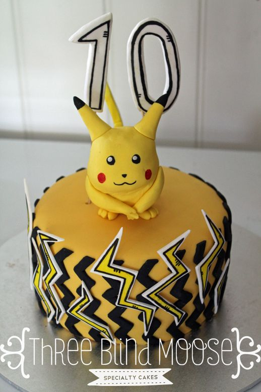 Pokémon cake Pikachu cake 10 th Birthday Bright happy cake by Three Blind Moose Specialty Cakes, Korumburra.