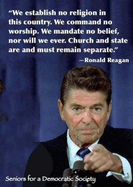 Tea Party Idol Ronald Reagan on national religion and separation of church and state.