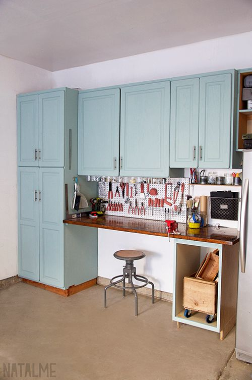 Garage cabinet makeover with chalk paint