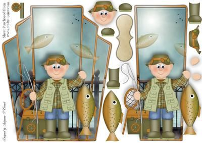 Pier Fishing card topper on Craftsuprint designed by Sallyanne O'Connell - A delightful card to make that is easy to make up. A great card that would suit any male occasion. Lovely once done. This card could also be made into and easel card. Cut out smaller portions and attach to the main image using silicone or sticky pads. Thank you for looking and or purchasing. Please click on my name to see more of my wonderful designs...Sallyanne... - Now available for download!