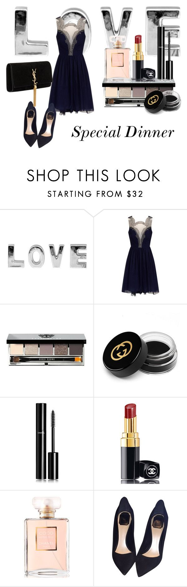 """Special Dinner Set"" by helenl-29 on Polyvore featuring Bobbi Brown Cosmetics, Gucci, Chanel, Christian Dior, Yves Saint Laurent, love, Blue, special and Elegance"