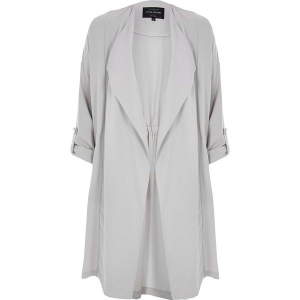 River Island Light grey duster jacket ($84) ❤ liked on Polyvore featuring outerwear, jackets, casacos, coats, coats / jackets, grey, women, light grey jacket, river island jacket and river island