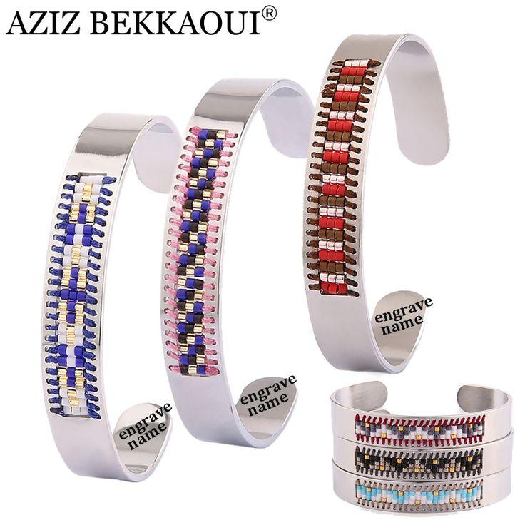 AZIZ BEKKAOUI Handmade Mini Beads Cuff Bracelets For Women Open Bangle Stainless Steel Bracelet & Bangle Personalized Name Logo