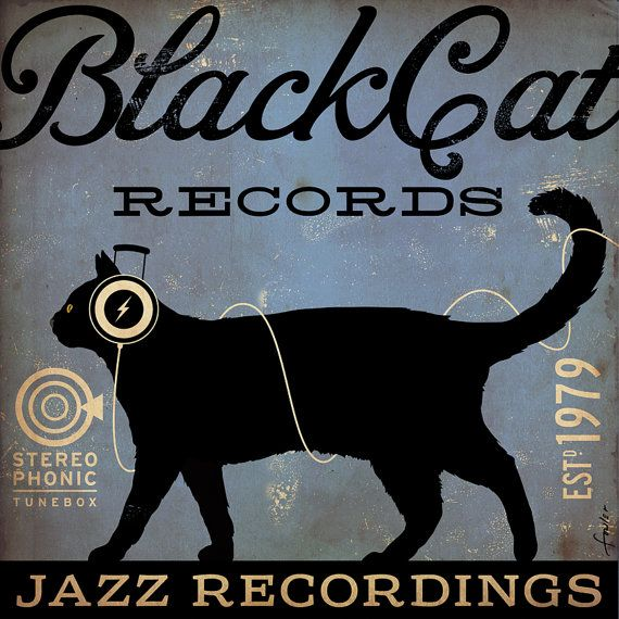 BLACK CAT records original graphic illustration art on canvas 12 x 12 x 1.5 by stephen fowler