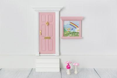 Fairy Door With Window and Mushrooms.