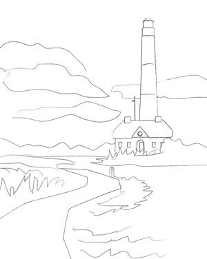 Lighthouse Sketch Adult Coloring Page Printable