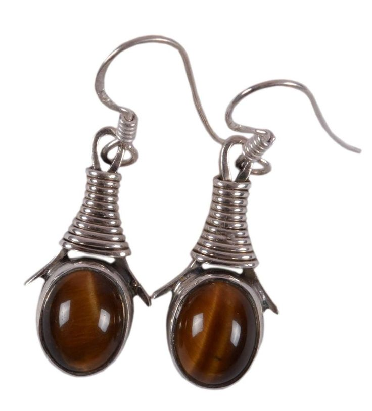 Solid 925 Sterling Silver Earring Natural Tiger's Eye 1.4 Inches JSEA-27 #JaipurSilver