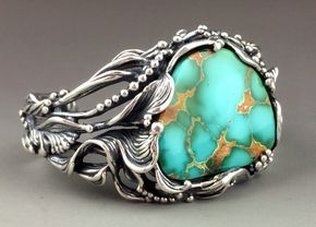 Launching a new website -Hooray! Come check it out jewelry and line art lovers :-) ...Sculptural Sterling Silver and High-Grade Royston Turquoise Bracelet