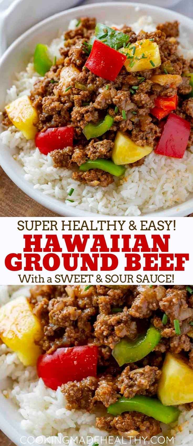 Ground Hawaiian Beef made with lean ground beef, bell peppers, onion, and pineap…