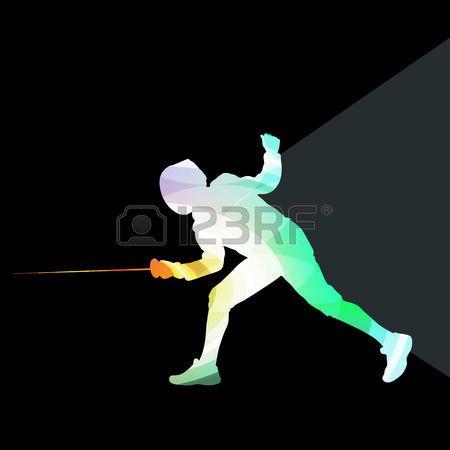 escrime: Escrime homme silhouette coloré concept fait des formes courbes transparentes