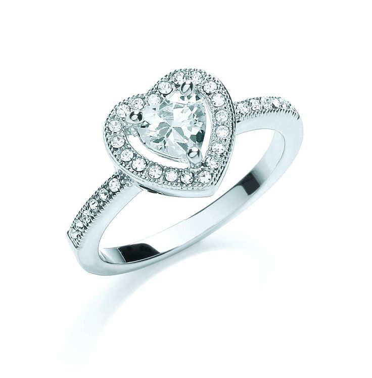 Rhodium Plated Crystal Heart Stretch Ring Delicate Crystal Silver Plated 'Sparkle Heart' 1JuBJ