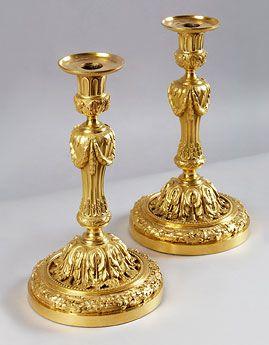 A Pair of Italian Louis XVI  Ormolu-Candlesticks