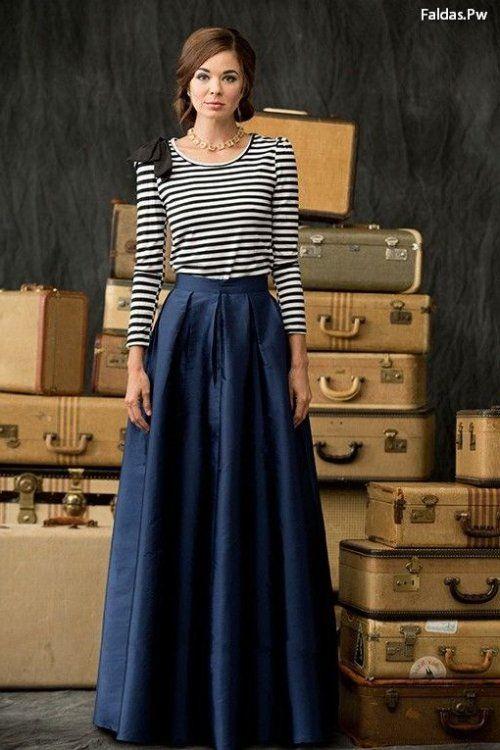 3cb342d4e Mis preferidos de moda Faldas Largas De Vestir, Faldas Azules, Uñas Azules,  Maxi