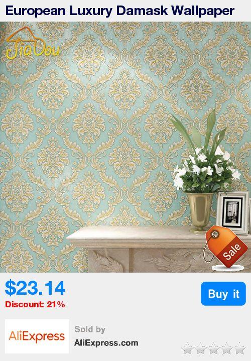 European Luxury Damask Wallpaper Blue 3D Stereoscopic Embossed Damascus Thick Non-woven Wallpaper Bedroom Living Room Wall Decor * Pub Date: 17:14 Jul 5 2017