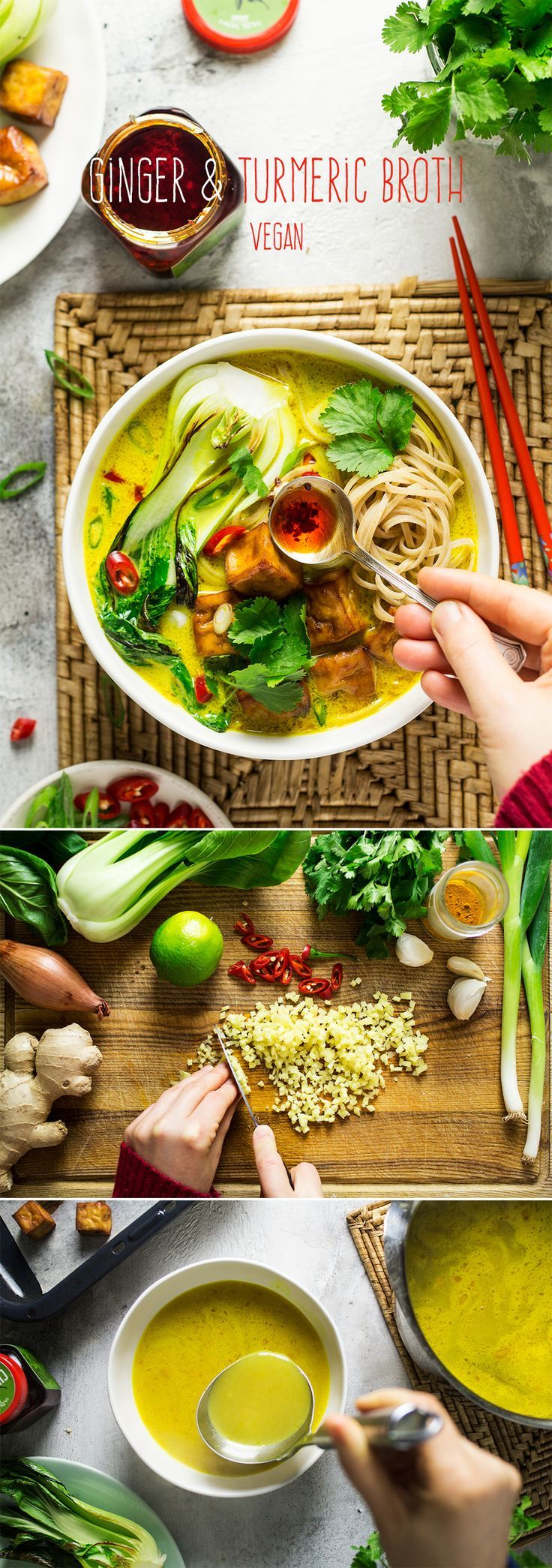 Vegan turmeric ginger broth with noodles, baked tofu and greens