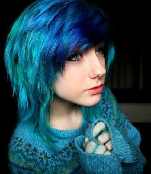 Multi coloured hair- scen/emo styled hair