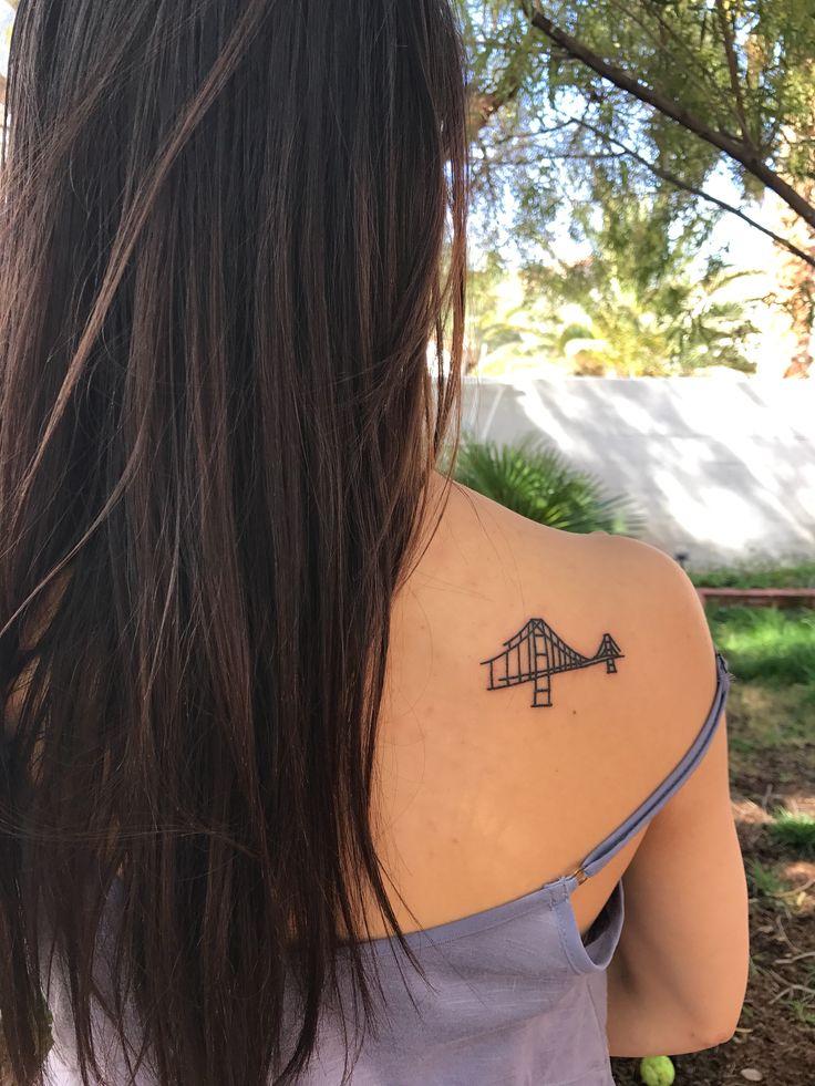 Minimalistic Golden Gate Bridge tattoo. Tattoo ideas. Minimal tattoos.