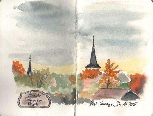 Herbstabend im Anton Danner Park, Bad Krozingen. Schmincke-Aquarellfarben Canson-Skizzenheft.