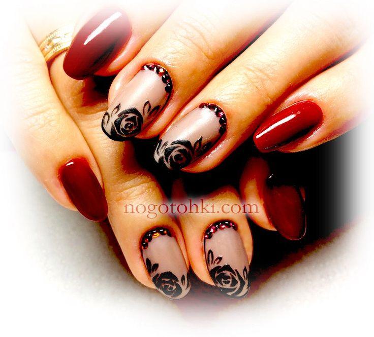 бордовые ногти, рисунки на ногтях