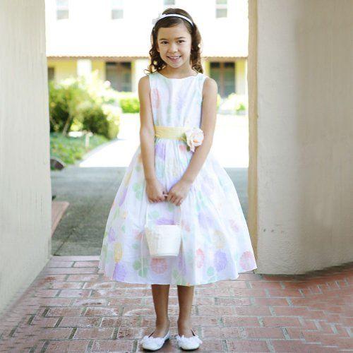 Kids Dream Yellow Sash Flower Pattern Easter Dress Little Girls 4 Kids Dream