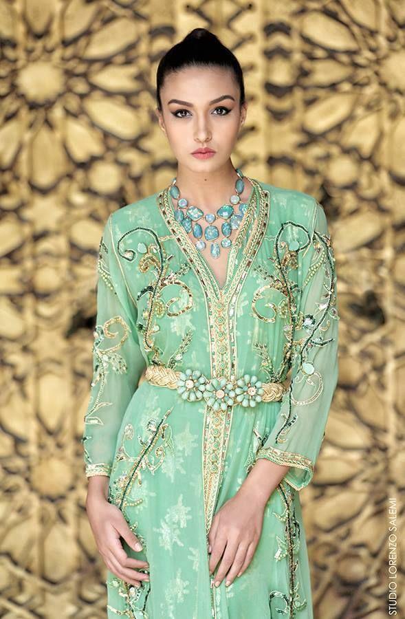 #Pastel #Green #Gold #Caftan