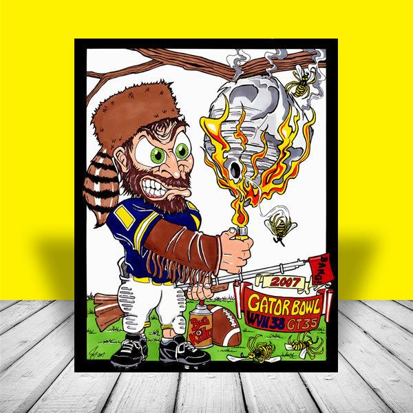 West Virginia Mountaineers 2007 GATOR BOWL ART, 2006 wvu football, artist signed #WestVirginia