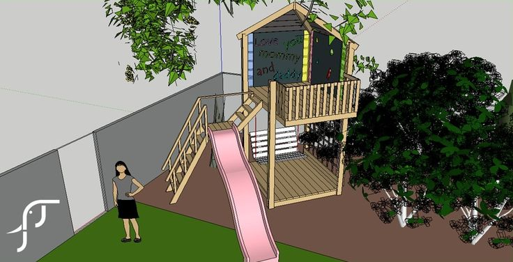 Jim of the Jungle - Tree house design with slide, porch swing and trellis for Jasmine creeper.