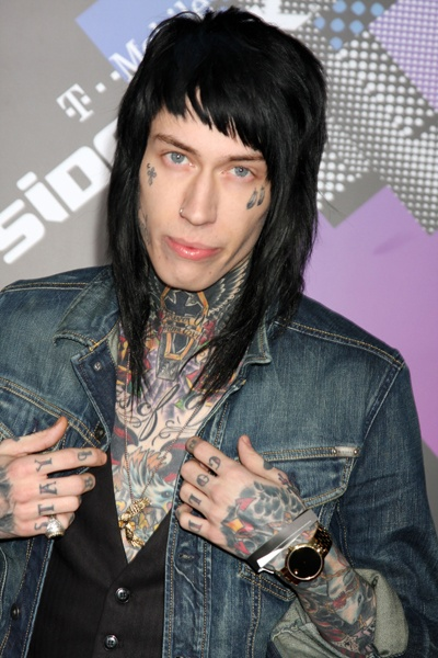 Nicky Hilton and Trace Cyrus at T Mobile Launch party