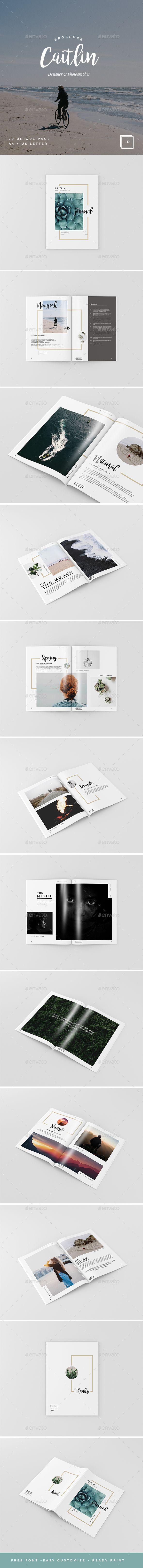 Caitlin - Creative Portfolio, Photography Brochure Template InDesign INDD. Download here: https://graphicriver.net/item/caitlin-creative-portfolio-photography-brochure/17264851?ref=ksioks