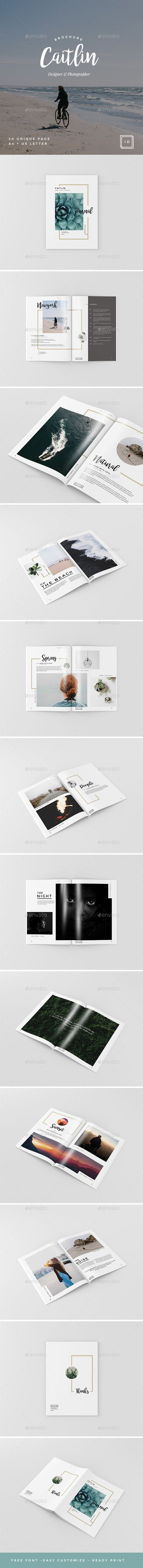 Caitlin - Creative Portfolio, Photography Brochure Template InDesign INDD. Download here: https://graphicriver.net/item/caitlin-creative-portfolio-photography-brochure/17264851?ref=ksioks
