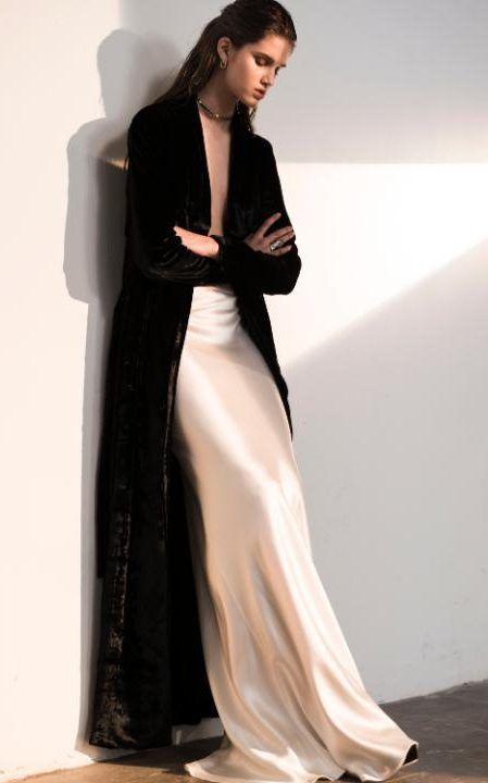 Galvan ivory silk skirt, £695, Harvey Nichols, and soft velvet coat, £1590, Boutique1.com