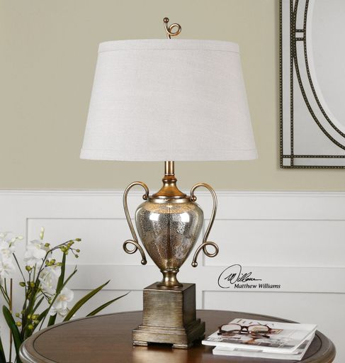 Speckled Mercury Glass Accented With Heavily Burnished Silver Leaf Details The Tapered Round Hardback Shade Is A Beige Linen Fabric Light Slubbing