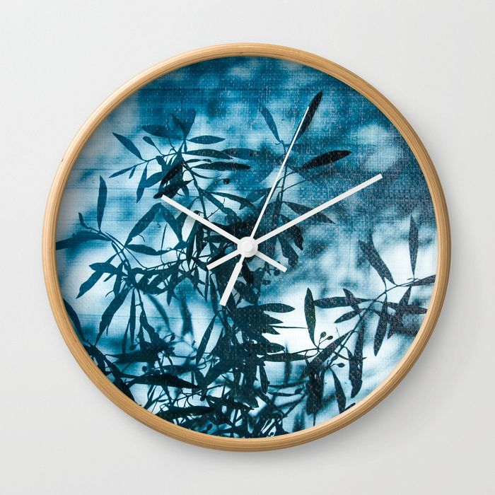 Olive tree leaves silhouette summer blue Wall Clock by #PLdesign #summer #tree #blue #society6