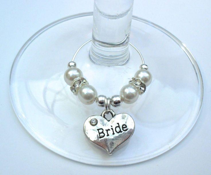1 X SILVER/WHITE RHINESTONE HEART PERSONALISED WINE GLASS CHARM WEDDING GIFT No2 | eBay