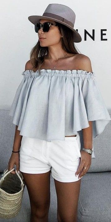 #summer #trending #outfits |  Baby Blue + White