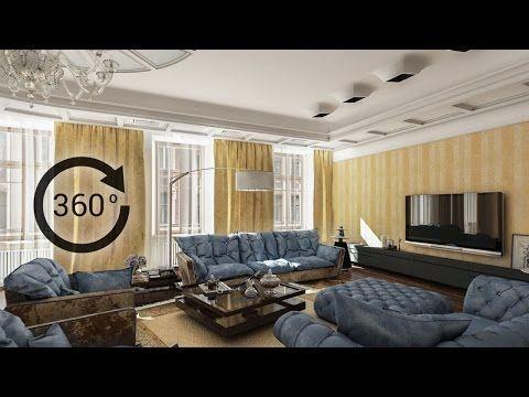 360° - 3D render   Интерьер   Гостиная - YouTube