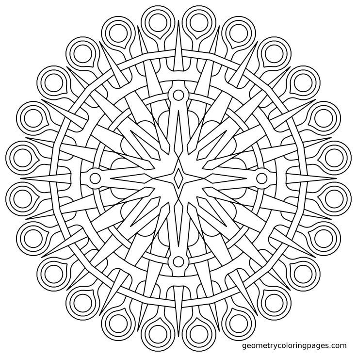 Coloring Page, Compass | Geometry & Mandala Coloring Pages